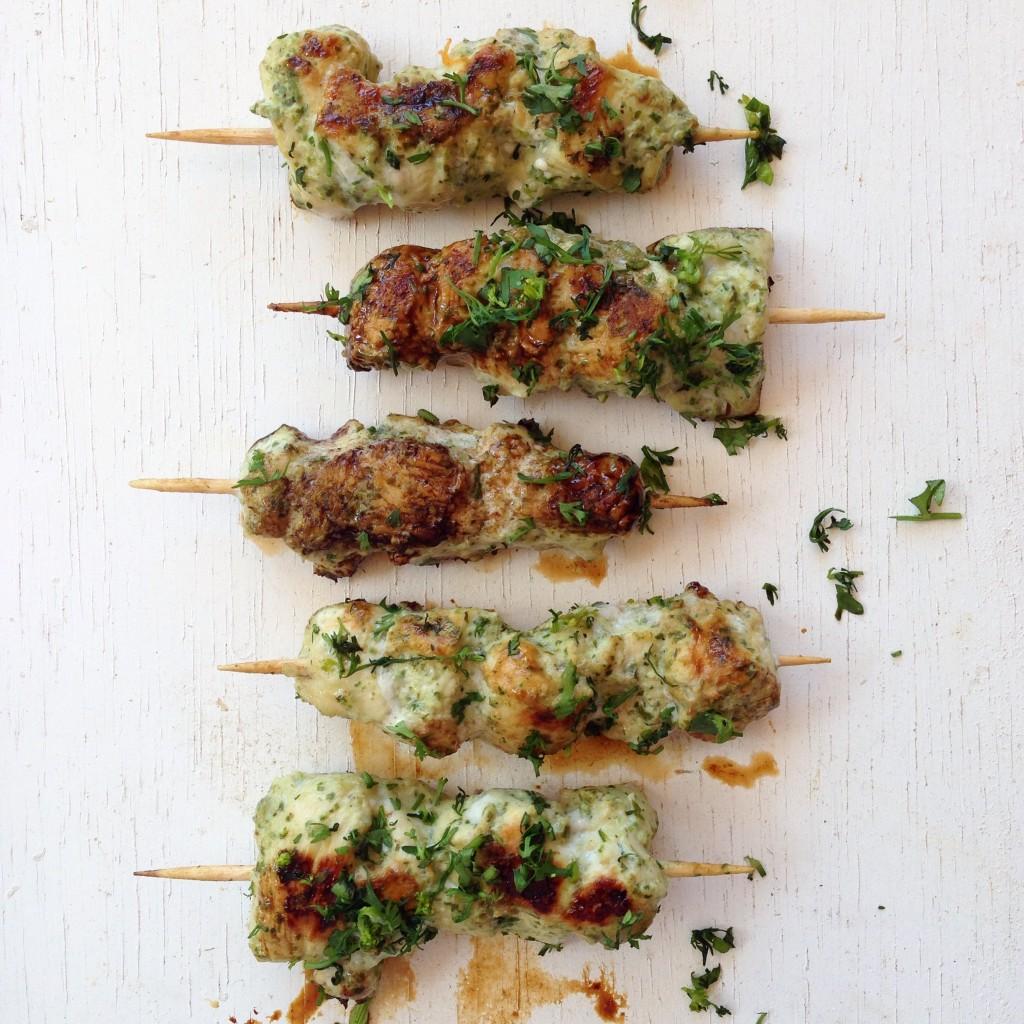 Pinchos de pollo al cilantro