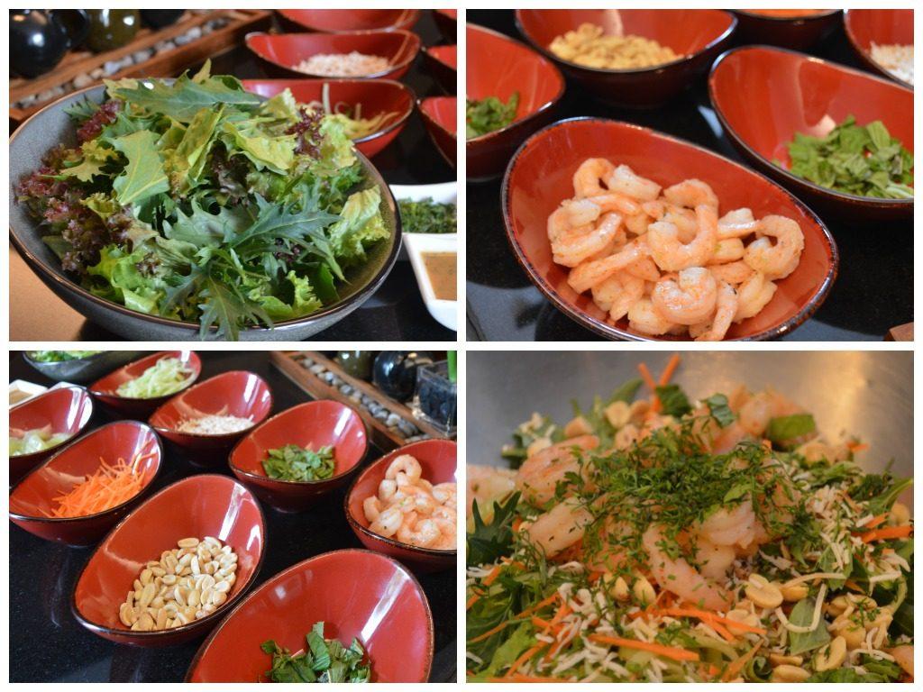 Detalle de los ingredientes de la ensalada de camarones y pomelo.