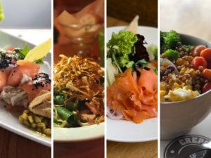 Collage con diversos platos de Crepes & Waffles.